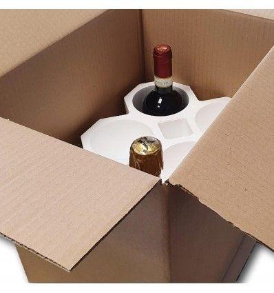 Kit Portabottiglie Vino in Polistirolo con Scatola di Cartone